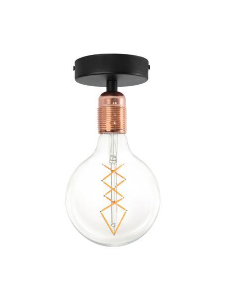 Lampada da soffitto piccola ramata Uno, Baldacchino: metallo verniciato a polv, Nero, rame, Ø 10 x Alt. 10 cm