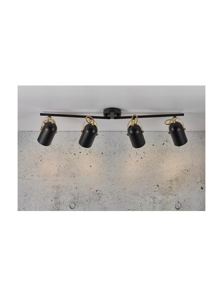 Grote retro plafondspot Lotus, Lampenkap: gecoat metaal, Zwart, messingkleurig, 78 x 20 cm