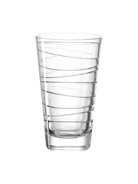 Waterglazen Vario met fijne lijnen, 6 stuks, Natriumkalkglas, Transparant, Ø 8 x H 13 cm