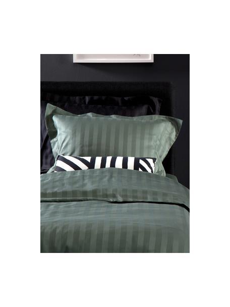 Pościel z satyny bawełnianej Linea, Zielony, 135 x 200 cm + 1 poduszka 80 x 80 cm