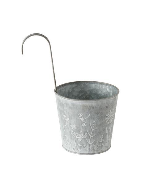Kleiner Balkon-Übertopf Silene, Metall, verzinkt, Zink, Ø 14 x H 24 cm