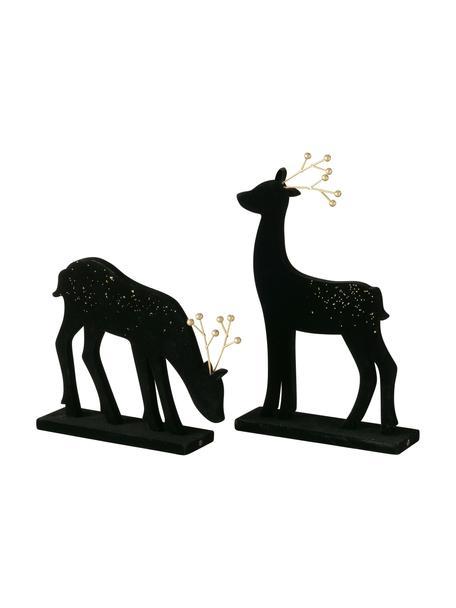 Decoratieve herten Thalo in zwart, 2 stuks, Gecoat MDF, Zwart, goudkleurig, Set met verschillende formaten
