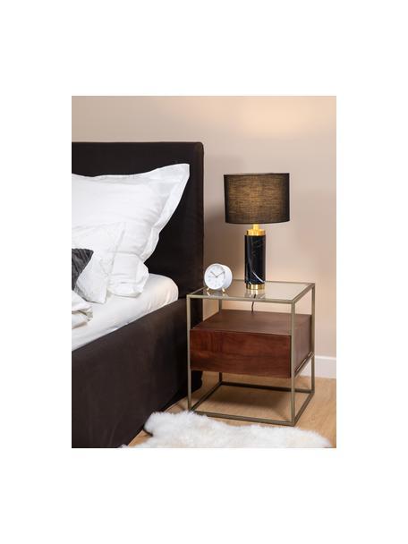 Stolik nocny z szufladą Theodor, Blat: szkło, Stelaż: metal malowany proszkowo, Transparentny, drewno mangowe, odcienie złotego, S 50 x W 50 cm