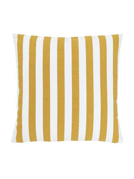 Gestreifte Kissenhülle Timon in Gelb/Weiß, 100% Baumwolle, Gelb, Weiß, 50 x 50 cm