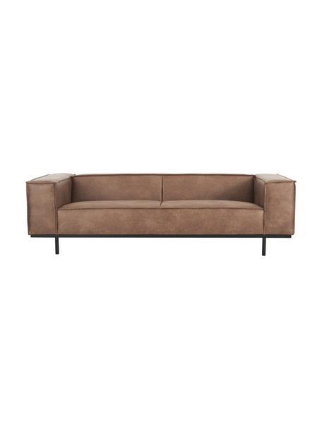 Sofa skórzana z metalowymi nogami Abigail (3-osobowa), Tapicerka: 70% skóra, 30% poliester, Nogi: stal lakierowana, Brązowy, S 230 x G 95 cm