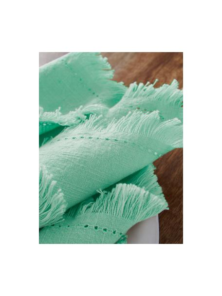 Stoffen servetten Hilma met franjes, 2 stuks, 100% katoen, Mintgroen, 45 x 45 cm
