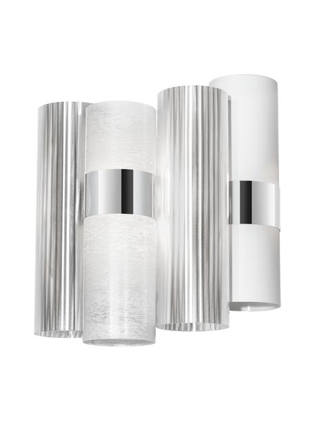 Applique in materiale sintetico La Lollo, Paralume: Opalflex, Lentiflex, Stee, Bianco, argento, Larg. 28 x Alt. 30 cm