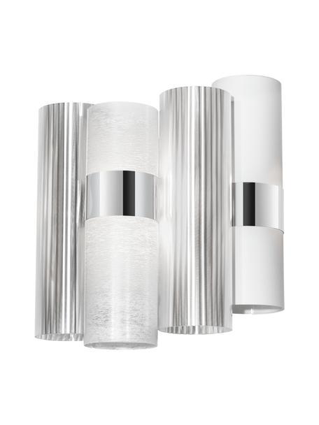 Wandlamp La Lollo van kunststof, Lampenkap: Opalflex, Lentiflex, Stee, Wit, zilverkleurig, 28 x 30 cm