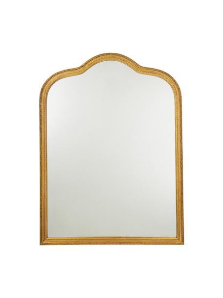 Barock-Wandspiegel Muriel mit goldenem Holzrahmen, Rahmen: Massivholz beschichtet, Rückseite: Mitteldichte Holzfaserpla, Spiegelfläche: Spiegelglas, Goldfarben, 90 x 120 cm
