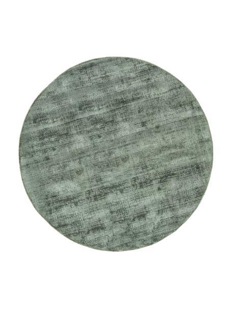 Rond viscose vloerkleed Jane in groen, handgeweven, Bovenzijde: 100% viscose, Onderzijde: 100% katoen, Groen, Ø 120 cm (maat S)
