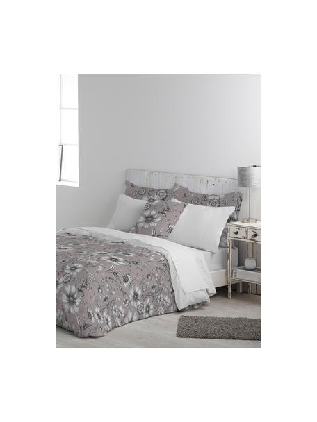 Dubbelzijdig dekbedovertrek Field, Katoen, Bovenzijde: oudroze, grijs, wit. Onderzijde: wit, 140 x 200 cm