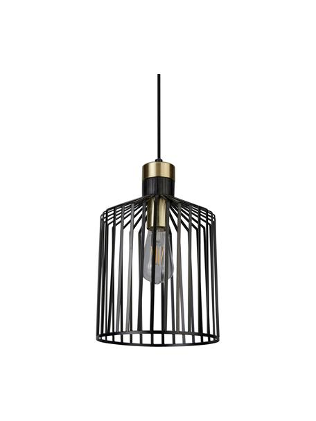 Kleine Pendelleuchte Bird Cage, Lampenschirm: Metall, beschichtet, Dekor: Metall, beschichtet, Baldachin: Metall, beschichtet, Schwarz, Goldfarben, Ø 22 x H 36 cm