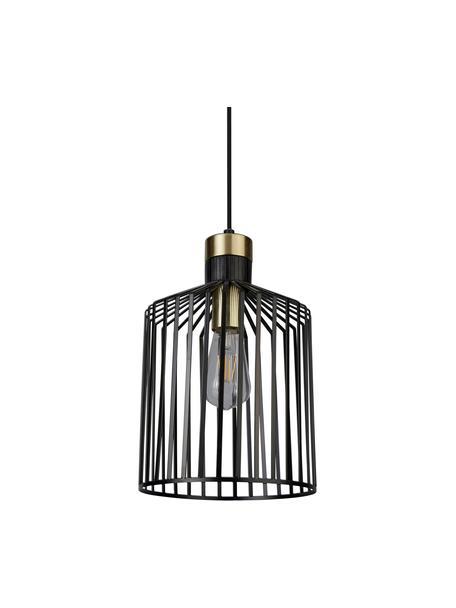 Kleine hanglamp Bird Cage, Gecoat metaal, Zwart, goudkleurig, Ø 22  x H 36 cm