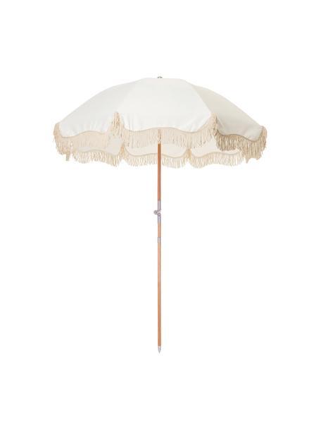 Beiger Sonnenschirm Retro mit Fransen, abknickbar, Gestell: Holz, laminiert, Fransen: Baumwolle, Gebrochenes Weiß, Ø 180 x H 230 cm