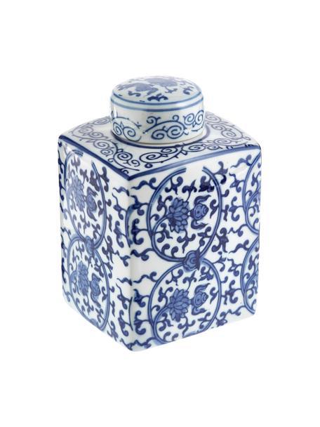 Wazon z porcelany z pokrywką Ella, Porcelana, Niebieski, biały, S 11 x W 17 cm