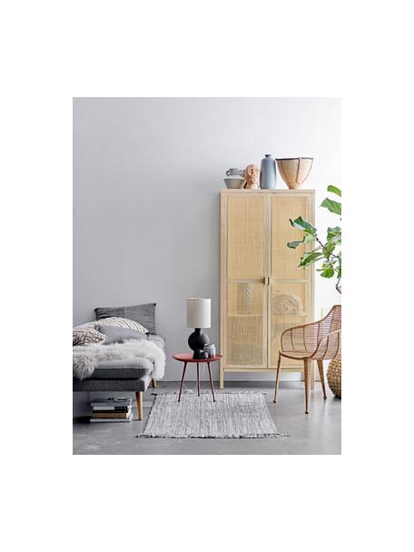 Lámpara de mesa Sergio, Pantalla: lino, Cable: plástico, Beige, marrón-negro, Ø 21 x Al 55 cm