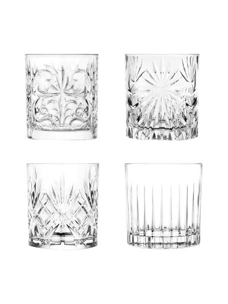 Glazen Bichiera met reliëf, 4-delig, Kristalglas, Transparant, Ø 8 x H 9 cm