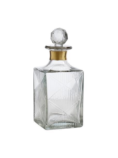 Bottiglia liquore in vetro Diamond, 400 ml, Vetro, Trasparente Bordo: dorato, Alt. 19 cm