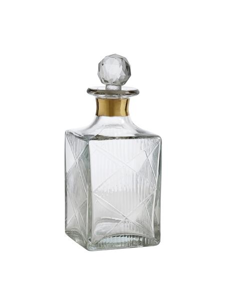 Decanter Diamond met reliëf, 400 ml, Glas, Transparant. Rand: goudkleurig, H 19 cm