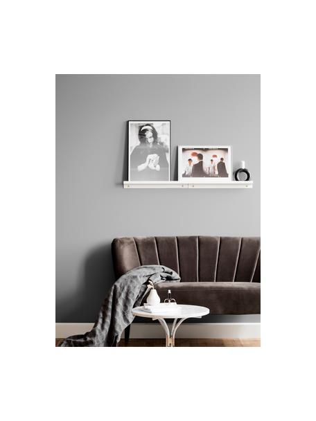 Estante estrecho para cuadros Shelfini blanco, Estante: metal pintado, Blanco, latón, An 50 x Al 6 cm