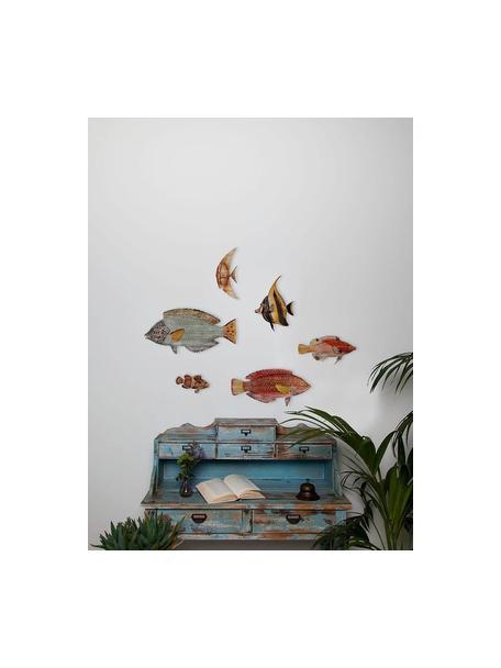 Set de decoraciones de pared Fishes, 6pzas., Tablero de fibras de densidad media (MDF), Multicolor, Set de diferentes tamaños