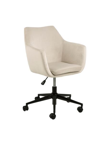 Krzesło biurowe z aksamitu Nora, obrotowe, Tapicerka: poliester (aksamit) 2500, Stelaż: metal malowany proszkowo, Beżowy, czarny, S 58 x G 58 cm
