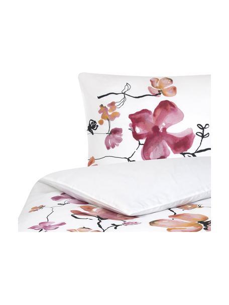 Baumwollsatin-Bettwäsche Fiori mit Blumen-Muster, Webart: Satin Fadendichte 200 TC,, Weiss, Rosa, Schwarz, 155 x 220 cm + 1 Kissen 80 x 80 cm