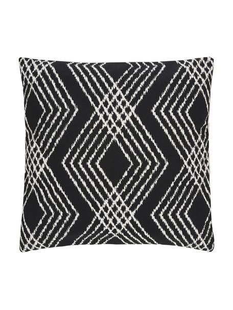 Boho kussenhoes Jax in zwart/crèmewit, 100% katoen, Wit, zwart, 45 x 45 cm