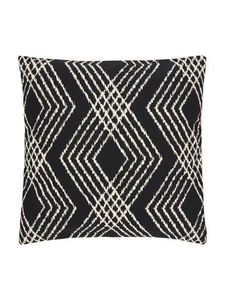 Boho kussenhoes Jax in zwart/ecru, 100% katoen, Wit, zwart, 45 x 45 cm