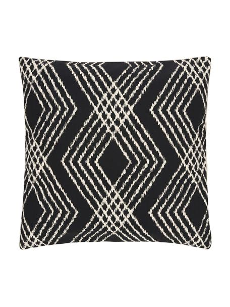 Federa arredo boho color nero/ecru Jax, 100% cotone, Bianco, nero, Larg. 45 x Lung. 45 cm