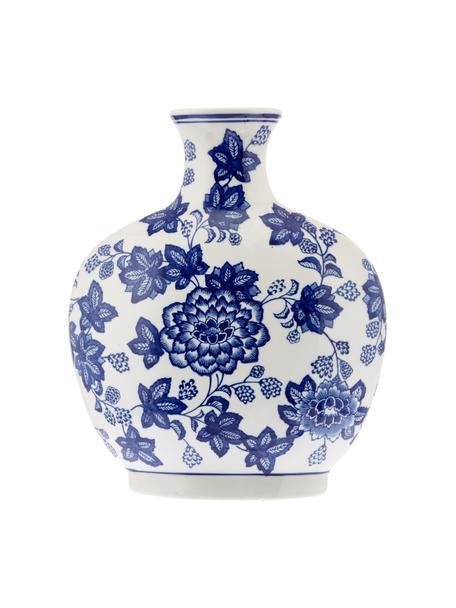 Keramik-Vase Blue Flowers, Keramik, Gebrochenes Weiss, Blau, 26 x 32 cm