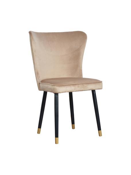 Krzesło tapicerowane z aksamitu Monti, Tapicerka: aksamit (100% poliester), Nogi: drewno naturalne, fornir, Aksamitny beżowy, S 55 x G 66 cm