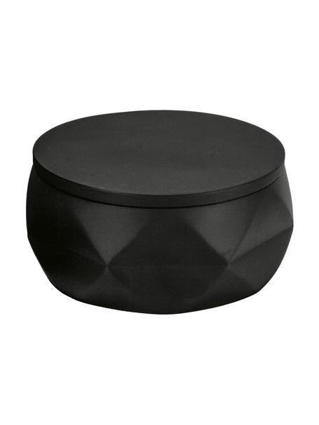 Bad-opbergpot Crackle van breukvast polyresin, Polyresin, Zwart, Ø 11 x H 6 cm