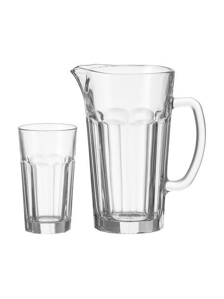 Jarra Rock con vasos, 7pzas., Vidrio, Transparente, Set de diferentes tamaños