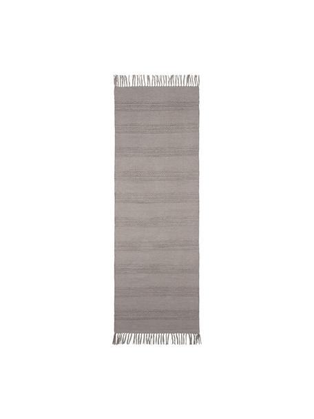 Katoenen loper Tanya met ton-sur-ton weefpatroon en franjes, 100% katoen, Beige, 70 x 200 cm
