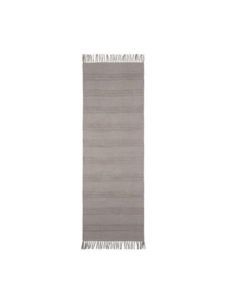 Passatoia in cotone tono su tono con frange Tanya, 100% cotone, Beige, Larg. 70 x Lung. 200 cm