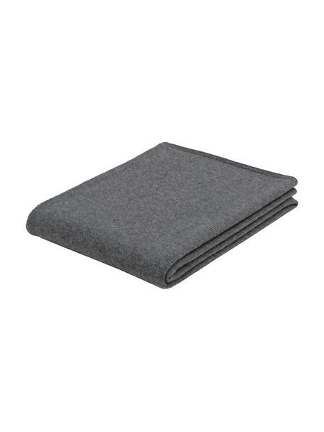 Coperta in cashmere grigio scuro finemente lavorato Viviana, 70% cashmere, 30% lana merino, Grigio scuro, Larg. 130 x Lung. 170 cm