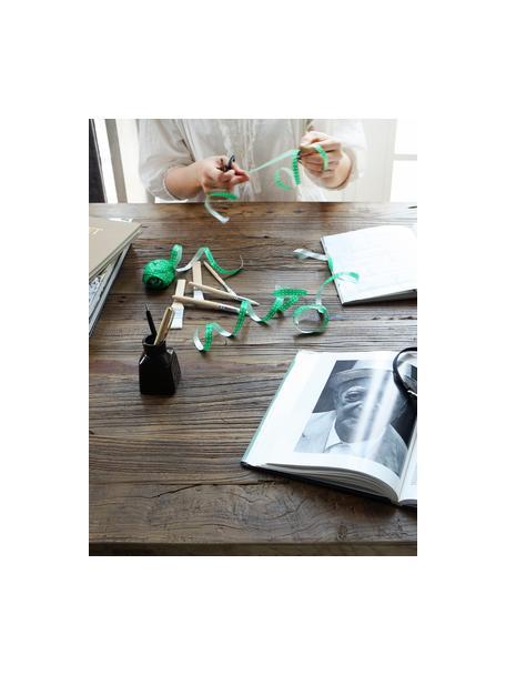 Statafel Vintage, Frame: gepoedercoat staal, Tafelblad: geborsteld en gewaxt iepe, Iepenhout, zwart, 130 x 104 cm