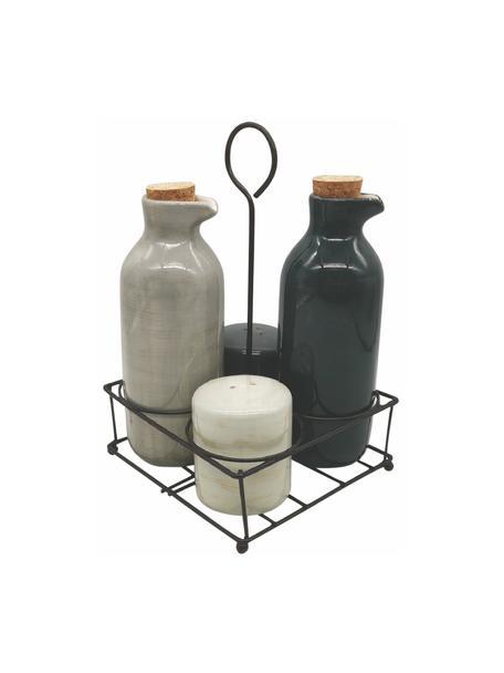 Kruidenset Baita, 5-delig, Strooier en dispenser: keramiek, Sluiting: kurk, Houder: gecoat metaal, Beige, zwart, Set met verschillende formaten