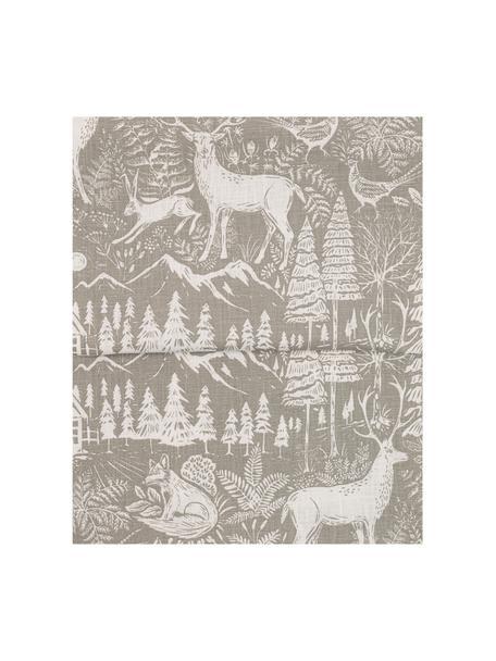 Runner con motivo invernale Forest, 85% ramiè, 15% cotone, Beige, crema, Larg. 40 x Lung. 145 cm