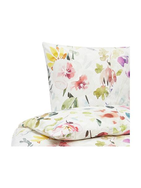 Baumwollperkal-Bettwäsche Edila mit Blumenmotiv in Bunt, Webart: Perkal Perkal ist ein fei, Weiß, Mehrfarbig, 135 x 200 cm + 1 Kissen 80 x 80 cm