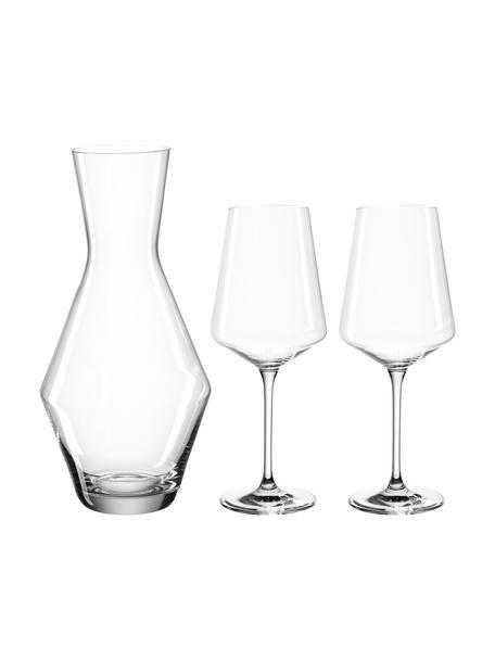 Wijnset Puccini van kristalglas, 3-delig, Kristalglas, Transparant, Set met verschillende formaten