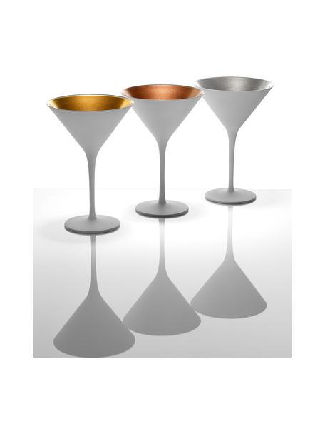 Kristallen cocktailglazen Elements in wit/goudkleur, 6 stuks, Gecoat kristalglas, Wit, goudkleurig, Ø 12 x H 17 cm