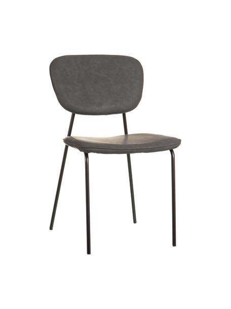 Krzesło tapicerowane ze sztucznej skóry Iskia, Tapicerka: sztuczna skóra (95% polie, Stelaż: płyta wiórowa, Nogi: metal, Ciemnyszary, czarny, S 54 x G 49 cm