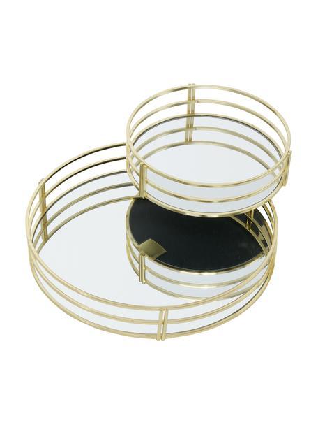 Decoratieve dienbladenset Sino, 2-delig, Frame: gecoat metaal, Plank: spiegelglas, Goudkleurig, Verschillende formaten