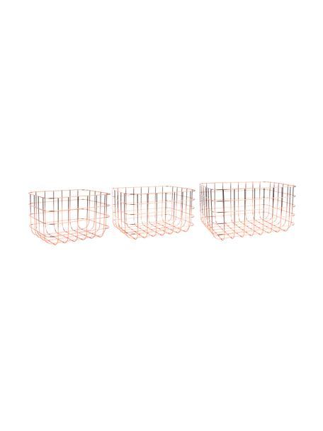Metall-Aufbewahrungskörbe-Set Grid, 3-tlg., Metall, Kupfer, Set mit verschiedenen Größen