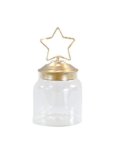LED Aufbewahrungsdose Star H 15 cm, Dose: Glas, Deckel: Metall, beschichtet, Transparent, Goldfarben, Ø 11 x H 15 cm