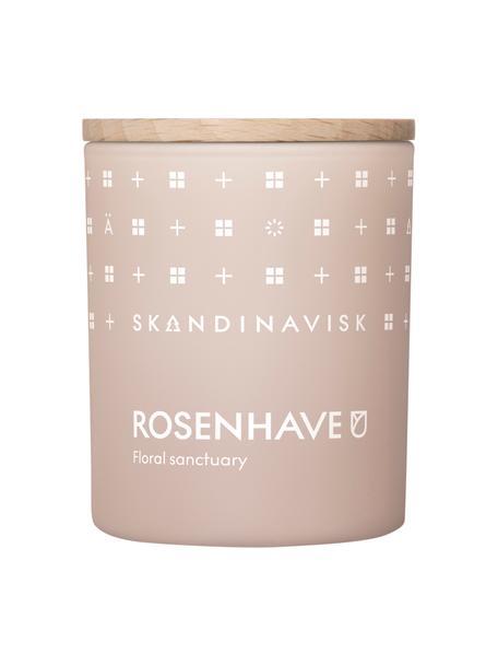 Duftkerze Rosenhave (Rose, Holunderblüten, Geranium), Behälter: Glas, Deckel: Birkenholz, Box: Karton, Rose, Holunderblüten, Geranium, 6 x 8 cm