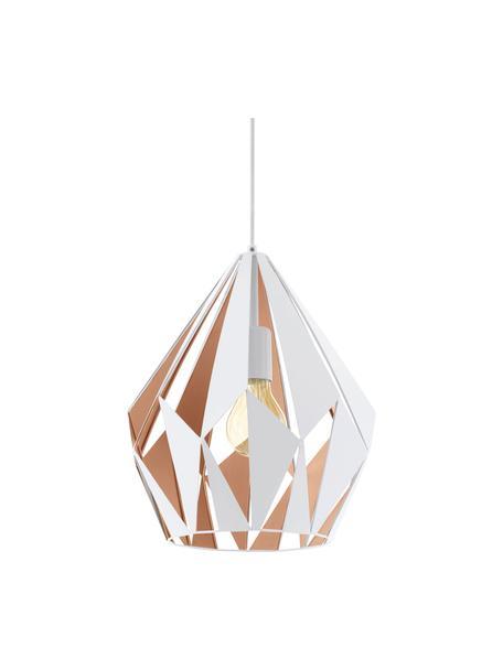 Skandi-Pendelleuchte Carlton, Lampenschirm: Stahl, lackiert, Baldachin: Stahl, lackiert, Außen: Weiß Innen: Roségoldfarben, Ø 31 x H 40 cm