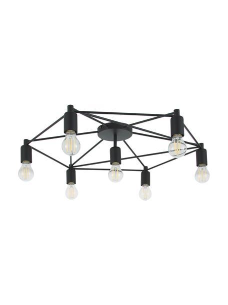 Grote plafondlamp Staiti in zwart, Baldakijn: gelakt staal, Zwart, Ø 76 x H 14 cm